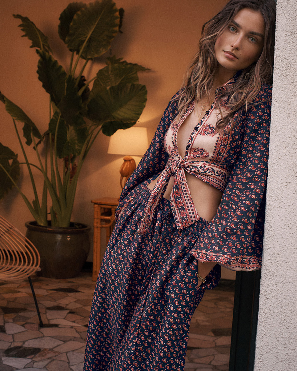 Jaya:Our Summer Swim 18 campaign features the Jaya Blouson Tie Top and Jaya Border Wide Leg Trouser in Border Motif print.The top and trouser are both available instore and online.