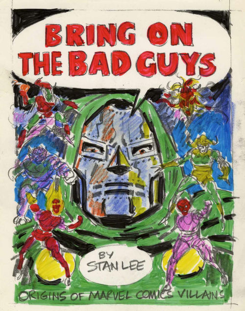Preliminary comp by John Romita for the cover of BRING ON THE BAD GUYS.