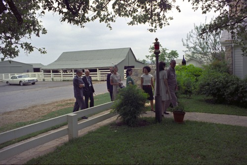 "April 18, 1967. LBJ, Luci, and Lady Bird greet visitors the Ranch, including Mr. Robert Kleberg, nephew of Richard M. Kleberg--who was LBJ's boss in Washington all those years ago.   ""The President asked Luci Nugent when she was born - she replied 1947. The President then mentioned having worked for Mr. Robert Kleberg [sic] 14 years before Luci was even born.""     - The President's Daily Diary, April 18, 1967. LBJ Presidential Library photo #C5093-7, public domain."