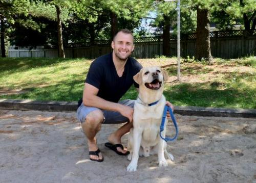 Rich Peverley of the Boston Bruins and his dog, Bear (Source)