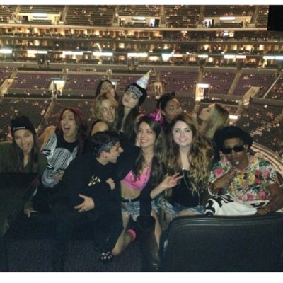 Kylie Jenner,Kendall Jenner + Lil Twist with their friendsat the Rihanna concert in LA on Monday night.