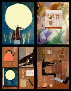 Rob Hodgson, John Henry- I've been trying to write/illustrate a kids book for a while now, and in the process I made this little narrative piece trying to tie together a few visual ideas. The book might look a little like this, but is about something totally different…