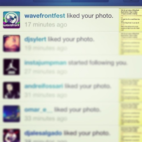 Wavefront liked my post about my entry. Vote Diego Prado http://i.do312.com/wavefrontinvitational