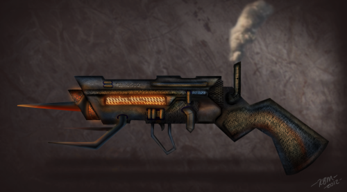 compos8:  A weapon design with a steampunk type of genre in mind. All I know is this thing would get overheated rather easily…