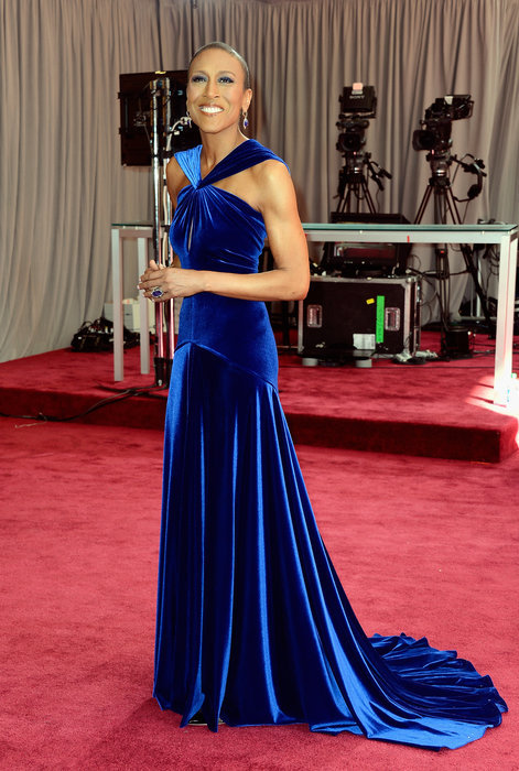 The Oscars Red Carpet 2013: Robin Roberts. Update: Robin Roberts is wearing Marc Bouwer. Courtesy Photo.