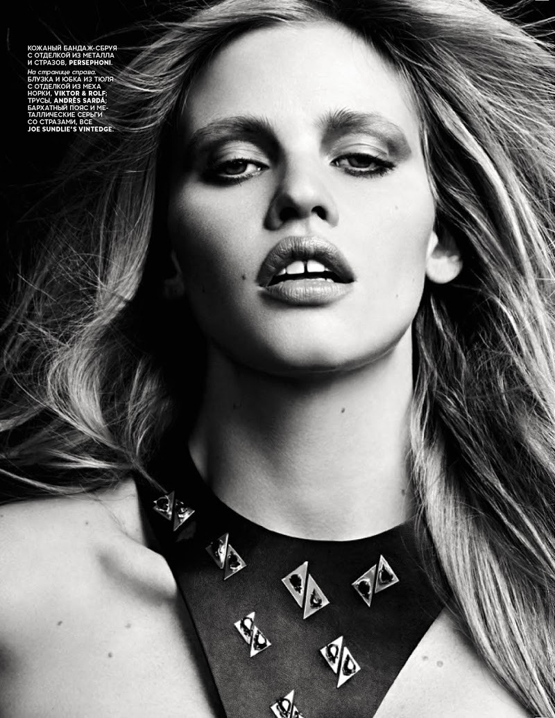 Lara Stone - Vogue Russia by Hedi Slimane, January 2013