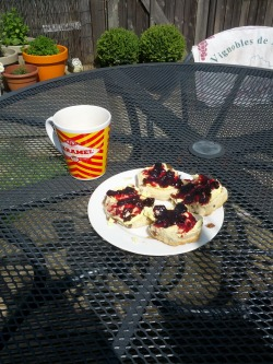 When the weather was nice at the weekend I had this for breakfast! It was a superb idea, clotted cream, black-cherry jam and a cup of tea.  Brilliant. Very pleased with myself.