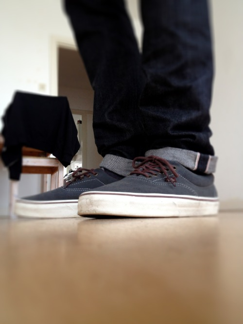 naked & famous black selvedge, vans era suede