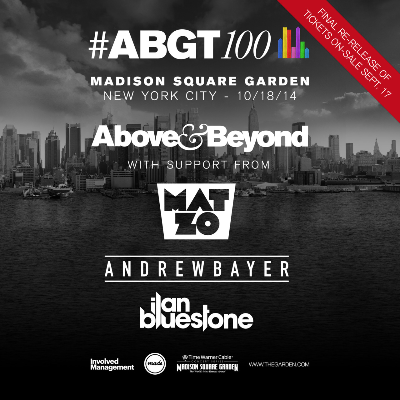 1 hour to go till your last chance at#ABGT100 tickets. Don't miss Above & Beyond, Mat Zo, Andrew Bayer & ilan Bluestone at Madison Square Garden, 18th October 2014.For more information and tickets click here.