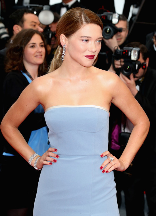 realmofthesenses:  Lea Seydoux in Louis Vuitton @ 'Grand Central' Cannes Film Festival Premiere
