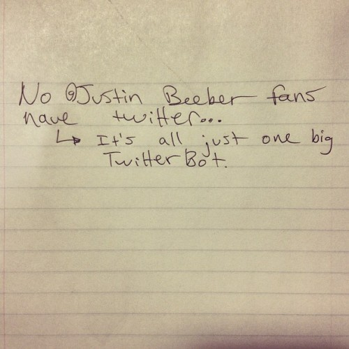 "From the Shaved #Bieber hate mail book: ""No @JustinBieber fans have Twitter… It's all just one big Twitter bot."" #fatgold (at Eyebeam Art + Technology Center)"