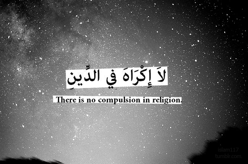 nebula27:  islamic-art-and-quotes:  No Compulsion (Surat al-Baqarah)  لَا إِكْرَاهَ فِي الدِّينِ There is no compulsion in religion. (Surat al-Baqarah 2:256)  Filed under: Quran 2:256 Originally found on: islam117    قد تبيّنَ الرُشدُ من الغيّ