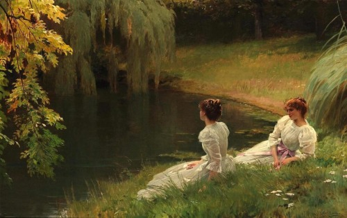 Elegant Ladies At Rest by Louise Emile Adan