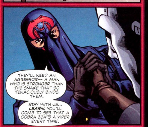 devious-devil:  Cobra Commander and Destro holding hands  …something about my snake beats any other snake you'll ever handle…