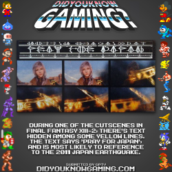 didyouknowgaming:  Final Fantasy XIII-2.  http://www.vgfacts.com/trivia/2169/