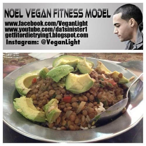 veganlight:  Yesterday Dinner: Brown Rice, Lentils, Avocado. Then had some salad and green grapes. NOEL VEGAN FITNESS STAR Like My Page:www.Facebook.com/VeganLight Subscribe To My Videos:www.YouTube.com/da1sinister1