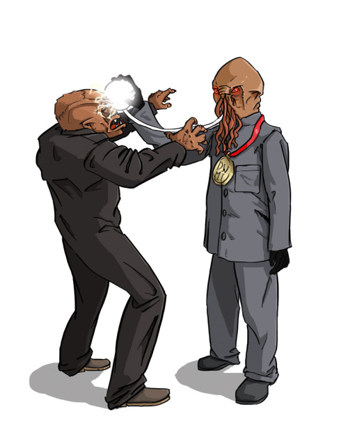 Ood v Weevil Mister Weevil is shown the light by Mister Ood - converting to a new way of life is not without its pains. Fortunately, grey is most definitely his colour. The Slamdown for Doctor Who: Monster Invasion #39! © Immediate Media Co. & BBC Worldwide
