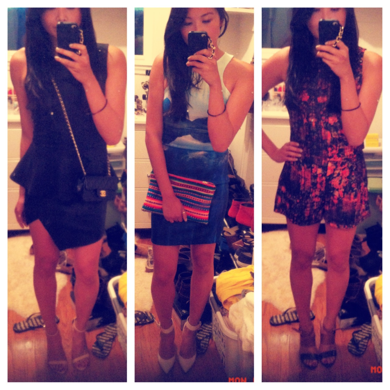 Miami outfit concepts.  Me in three's = weird.