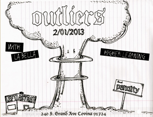 Hey, we're playing Outliers' record release show at The Church on Covina with our friends in Penalty and La Bella. It's all ages and only $3. We'll be playing new songs, including our song that will be featured on the Upcoming ToxicBreed comp.  In other news, we're planning a few shows with Ruptures in March, one of which will be in Las Vegas, which will be our first show out of state. I'll post more frequently as our calendar starts filling up with shows. See ya tomorrow!  -Marcel