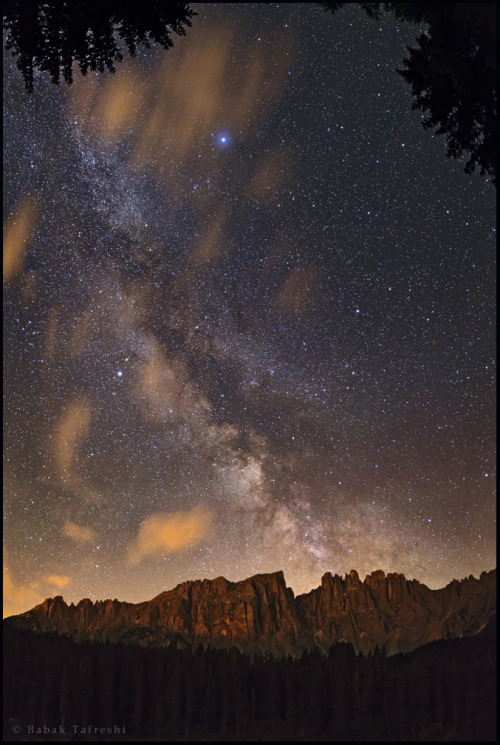 A Starry Night of Dolomites Mountain Range