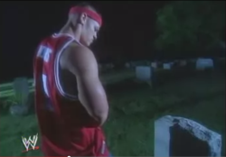 3manbooth:  Remember that time John Cena pissed on a grave? We do!