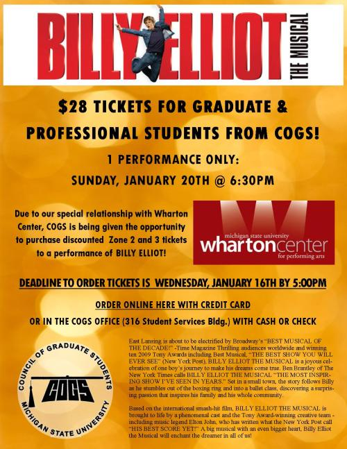 $28 Tickets available for Billy Elliot from COGS! 1/20/13 6:30pm performance only.