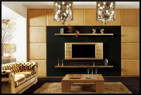 Art deco room with a gold leather couch is amazing!Get the look with Fabricut's Precious Metal - Gold Faux Leather  MORE METALLIC DECOR IDEAS  (photo via www.distroarchitecture.com)