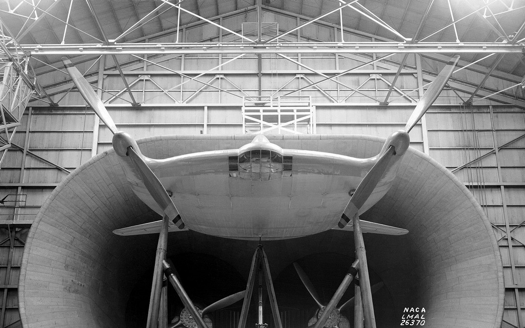 "View of the Vought-Sikorsky V-173 airplane mounted in the Full Scale Wind Tunnel. Shows the prototype ""Zimmer Skimmer"" or ""Flying Pancake"" on which the XF5U was based."