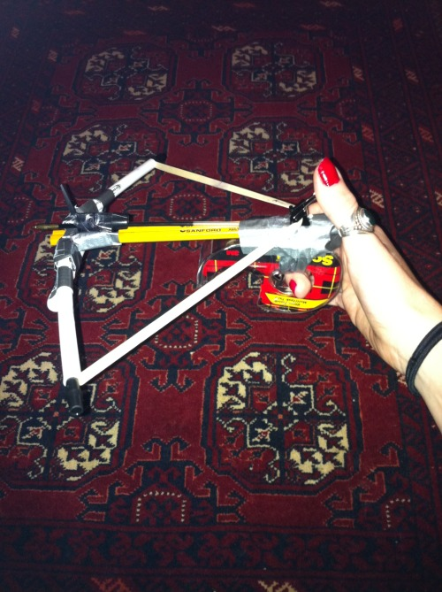 hideyourriches:  I was bored and made a crossbow out of office supplies