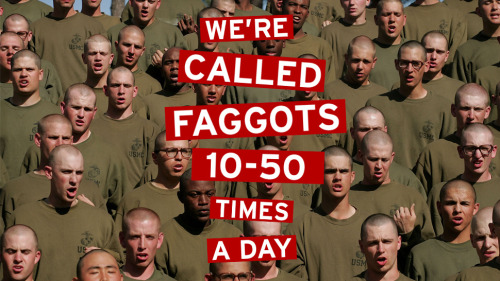 "thepoliticalfreakshow:  Don't Ask, Don't Tell, Faggot: Inside Marine Corps Boot Camp, And How The Stark Reality of Boot Camp Has Not Caught Up With Change [TW: Homophobia, Anti-Gay Bigotry and Discrimination, Graphic Explicit Language, Verbal Abuse] What is Marine Corps boot camp really like? According to an email that a current recruit sent to a bunch of his friends, it's a lot of being called a ""faggot"" by your drill instructors. And, if you happen to be brown-skinned, a lot of being called ""terrorist."" Not to mention ""beast mode"" workouts. After the ""Don't Ask, Don't Tell"" act banning gays in the military was repealed in 2011, the Marine Corps' top officer, Gen. John Amos (who argued against the repeal) said he was ""very pleased with how it has gone."" The Marine Corps even brought the media along to a recruiting event at a gay rights center. But the current reality does not appear to be so loving for cadets. The email below comes from someone currently attending USMC boot camp. (We've verified its authenticity and removed identifying details, but left it otherwise intact.) It's no surprise that boot camp involves lots of cussing from drill instructors—but this section seemed a bit, well, retrograde: ""Don't ask Don't Tell. Shit may have been repealed, but the USMC sure hasn't adapted. We're called faggots 10-50 times a day. 'You think that's yelling? That's sweet faggot.' 'Yeah, you would think that's a pushup, faggot.' etc. Any time we fuck something up, the DI's tell us 'you stupid fucking thing. That's more wrong than two boys fucking.' One captain, when giving an ethics class, and talking about how one mistake can change your life/ identity told the entire company 'you can be a bridge builder your entire life, but you suck one dick and you're a cocksucker till you die.'"" In addition to rolling out the red carpet to gays interested in devoting their lives to their country, the Marine Corps has gone out of its way to note its tolerance for Muslims in the midst of America's endless War on Terror. Abuhena Saifulislam, the Marines' first Muslim chaplain, became a PR machine during the George W. Bush administration, giving ""hundreds"" of interviews aimed at ""personifying the notion that there is nothing incompatible about serving both Islam and the US military."" According to our boot camp guy, however, there may be something incompatible about appearing to possibly be a Muslim to a Marine Corps drill instructor. From the letter: ""The one indian looking kid in the platoon gets ripped by the DI's day one they started calling him a terrorist, a cabbie, and a small shop owner. '[Name] are you a fucking terrorist?' 'no sir' 'well, if you were a terrorist, you wouldn't admit to it now would you?' 'no sir' 'so you're probably a fucking terrorist.' 'aye sir' 'because you look like a fucking terrorist, why aren't you driving a fucking cab like the rest of your people?' 'this recruit doesn't know sir.' 'I know though, because you're a fucking terrorist.' Anytime he gets mail the DI's don't say his name and instead go 'oh, great, more terrorist mail.' and drop it on the ground like they don't want to get anthrax, or pretend to listen to it like it's a timebomb. When he answers questions wrong about our classes, they go, 'you know why you don't know the answer?' 'no sir' 'because your brain is full of fucking terrorist information, that's why.' 'aye sir.'"" Indians, terrorists, cab drivers, faggots, ""soup sandwiches."" The Marine Corps is vigilant to all threats. The full letter is below. Enjoy:  Bros + [friends], sent this to [friend] to forward to all of you. I have very little time to write letters. I get through 1 or 2 a week. So, sorry for the delays in responding, I'll get you all back individually, but figured this would be the best way pass on shit I'd end up copying and pasting to each of you anyway Days start at 0400 and end at 2000 on the dot. Wake up w a few hours of pitch dark and go to sleep when it's still light out. We get out of the ""racks"" (bunks), get dressed at the same time, ""scuzz the house"" (fold our towels, align our extra boots/shoes make our racks, sweep the floor while squatting w a hand brush), then go to the chow hall. When we go to chow, like everywhere we go, we march to the drill instructor's cadence. Every time we fuck something up (a movement, not screaming loud enough, not holding our rifles properly etc) we get the old ""you don't want to yell? Ok, fuck you, run and touch the trees, ok run back the other way, etc"" not so fun at 0430 Chow is pretty Good. Looks like it's US Foods, actually. I see the trucks all over the place and chuckle to myself (on the inside) every time… […] After chow we go to PT (physical training) This shit is awesome. It absolutely smokes me, which I wasn't expecting. Some days it's circuits like: run 1/4 mile, do 20 burpees, run 1/4 mile, do 40 body squats, run 1/4 mile, abs, run, pull-ups, repeat. Yeah, there are plenty of ""fat disgusting pieces of shit."" (as the DI's call them) but all that means is they go slower. If you go at your personal max pace, you're guaranteed to be dead at the end. Other PT workout will be crossfit stations w a run at the end, and sometimes it's just as long (6 mile) march w/ 40 lbs on our backs. Those are whack, though, bc we go slower than [friend] getting up the stairs to [friend]'s apartment. We learn a ton of martial arts, which is technically called MCMAP- marine corps martial arts program- bit I call it Karate and ninja training, which my DI's don't like one bit. It started with boring punches and kicks, tiger shulman tae kwon do style, but now we're learning throws, counters, elbows, stomps, bayonet attacks, bayonet defenses, etc. all of which we do at full speed and intensity on each other. (sometimes w pads but often not) IF the DI's think we're going easy on each other, they flip a shit. The MCMAP shit is incorporated into our PT workouts, one of the best workouts we did was the martial arts conditioning course: 2 min of jab straight hook vs. a recruit w a pad throw a recruit over your shoulder, carry them back and forth btwn 2 cones 30 yards apart somersault (sp?) back and forth 30 yards apartment roundhouse kicks drag a recruit back and forth for 30 yards elbow strikes choke counters knee strikes run 1/2 mile punch blocks/throws crawl (low) in sand for 100 yards body squats run 1/4 mile After we finished, when we thought we were done for the workout, we did a pull pushup/ab/mountain climber workout. again, the fat kids make it through bc they'll get to a station and do the exercise like 5 times. But I beast mode it. We also have done pugil sticks twice (google it.) fun as fuck. Get to wail away on a stranger w DI's encouraging you to knock their head off. I'll admit I've taken my share of blows, but on more than I've lost for sure. Some other fun PT shit has been the ""confidence course""- a military-style ropes course, minus the B.S. safety harnesses. Google it. and the ""obstacle course"" which I think I explained to you all when I did it a while back for OCS. again, google it. After PT we go back to the squad bay for a ""PT shower"" which is about 45 seconds under the water each, good enough to turn dirt to mud. Then we get dressed, march to chow, then go to class for the afternoon. Classes are boring as fuck (45 minutes on ""honor"" or an hour on sexual assault BS) or they're fuckin' sweet (combat care, USMC history, medal of honor stories, etc) they're [name] middle school quality though… if that. After classes we work on drill— very elementary version of what the dudes in the commercials do, throwing rifles in the air and shit. I can't stand drill. Shit's fucking dumb, but it takes up a lot of our time theses days. It's supposed to ""instill discipline"" but you can't tame the beast. I came here to learn how to hook, jab, stab, and shoot. Not walk in straight lines like some synchronized swimming shit. Oh well. […] Enough about that b.s. Some funny shit: 1) […] 2) […] 3) Don't ask Don't Tell. Shit may have been repealed, but the USMC sure hasn't adapted. We're called faggots 10-50 times a day. ""You think that's yelling? That's sweet faggot."" ""Yeah, you would think that's a pushup, faggot."" etc. Any time we fuck something up, the DI's tell us ""you stupid fucking thing. That's more wrong than two boys fucking."" One captain, when giving an ethics class, and talking about how one mistake can change your life/ identity told the entire company ""you can be a bridge builder your entire life, but you suck one dick and you're a cocksucker till you die."" Not much room for bitchassness. Even though only 10% of the corps is infantry, they treat everyone at about like they'll be going to combat. 4) [Name]. This one younger kid from Philly took a shit ton of flak from the DI's the first two weeks. So much so that he was saying ""aye sir! aye sir!"" in his sleep. One day, he got worked by the DI's and after he was told to go back to the platoon. A DI came up to him and whispered ""nobody fucking cares about you, [name], nobody is going to write to you. nobody is going to your fucking graduation."" [Name] broke, and started crying. The DI goes ""yeah that's right bitch,"" then wipes the tears off [name] 's face licks them from his finger, and goes ""yeah bitch"". Shit like that goes down every day except for the crying thing. 5) terrorist recruit. The one indian looking kid in the platoon gets ripped by the DI's day one they started calling him a terrorist, a cabbie, and a small shop owner. ""[Name] are you a fucking terrorist?"" ""no sir"" ""well, if you were a terrorist, you wouldn't admit to it now would you?"" ""no sir"" ""so you're probably a fucking terrorist."" ""aye sir"" ""because you look like a fucking terrorist, why aren't you driving a fucking cab like the rest of your people?"" ""this recruit doesn't know sir."" "" I know though, because you're a fucking terrorist."" Anytime he gets mail the DI's don't say his name and instead go ""oh, great, more terrorist mail."" and drop it on the ground like they don't want to get anthrax, or pretend to listen to it like it's a timebomb. When he answers questions wrong about our classes, they go, ""you know why you don't know the answer?"" ""no sir"" ""because your brain is full of fucking terrorist information, that's why."" ""aye sir"" It's impossible to remember all the funny shit that happens, it never ends. The DI's are fucking hilarious every day, but it's hard to explain, especially in writing. Let's see… a few kids have gotten pretty fucked up during training . First, a kid in my platoon…got pissed at another recruit and pushed him. the recruit who got pushed, stood up and swung his rifle at my buddy, hitting him in the face w the muzzle. it ended up breaking my buddy's eye socket, which dropped his eye. He'll probably need facial surgery. He was put in a medical platoon to heal, which will take 4-6 weeks just to know whether he needs more work. He doesn't go home and hardly earns any more means to communicate w family/ friends. Just sits there waiting to get better and restart training. the recruit who swung the rifle was taken from the platoon. Word was he could be charged w assault and put in the brig. Yesterday, (thurs 4-19) we ran the obstacle course. A kid about 5 people behind me jumped from an obstacle awkwardly and broke his leg like that dude from [town] ([friend] sent me a pic) I didn't see the kid go down, but it was gruesome apparently. We waited for the parameds, then went right on training. Heard from a recruit in the kid's platoon that he snapped his femur. Nasty. Not what I heard at first. But that's way way worse. Another kid didn't hold his rifle properly during the bayonet assault course hit a tire, lost control, couldn't hold the rifle, and it bounced back and knocked his two front teeth out. Sucks to suck. […] We have this shit called ""incentive training"" or IT which is fast and furious, impromptu workouts w/ one drill instructors when we fuck up for anything. They're like 10-15 minutes of pushups cruces, mountain-climbers, high knees, planks, jumping jacks, and burpees. They'll wreck anyone. If you put out, which you have to do, end up unable to hold yourself up, no matter what shape you're in. […] Sometimes, on days when we already have hard PT, I'll have another 4 IT sessions. Beast mode. Gotta say I love it. Someone jacks up a drill movement we get IT. Someone talks in formation, IT. I moved my neck in formation once and got IT but that's rare. […] There are a number of kids who are ""failing to adapt"" but they're coming around. I don't have much to do w/ them though (other than getting IT'd for them and yelling at them as squad leader) There are leaders and followers, fat kids and beasts, smart kids and dumb fucks, guys who are squared away and guys who are ""soup sandwiches"", understandable w 55 guys. [There] is a black kid from [southern state] named [name]. He's the definition of slave genetics. I call him Django. He's dumb as rocks, but a PT animal. He keeps me motivated during PT, I teach him how to speak english better than a combo the old guy in ""duck dynasty"" and Big Black from ""Rob and Big"". Since most of you asked, I haven't fired my rifle yet. We go everywhere with them and I sleep w my head between two of them. But we aren't at ""firing week"" - it's in two weeks. Then, we'll pour rounds down range. While we haven't shot, other platoons are on the range every day from sun up to sun down so there's a maelstrom of gunfire blasting around the base all day. Pretty awesome sound. No, we don't even stand near female recruits. I wouldn't want to anyway… they smell worse than we do. Only 3-4 per platoon are even attractive. We see them at church (which is required, basically) and rarely at the chow hall. That's it. Anyway, I gotta get a lift in before lights. If this didn't come across, I love it down here. None of my big concerns became realities. I get to learn badass shit, workout constantly, and am rewarded for being as intense as physically/mentally as possible for 16 hours a day. Life's good, hardly ever been as satisfied when I go to bed as I am now. Thank you all for your letters. They mean a lot to me and keep me more motivated than you think. Sorry again for the lack of personal response, but I really get no time to write… I hope your'e all well. Take a shot for me when you're closing tabs at 0400… I'll be waking up to a barrage of hateful, hateful yelling. All love… and as we say 100x a day… Kill! [Name]  [Image by Jim Cooke. Photo via Getty]"