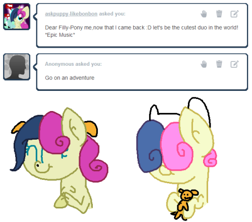 "askfillybonbon:  ""Bon Bon the pony and Bon Bon the dog.""  Bons: What time is it,Filly me? :D It's Bon Bon Time!"