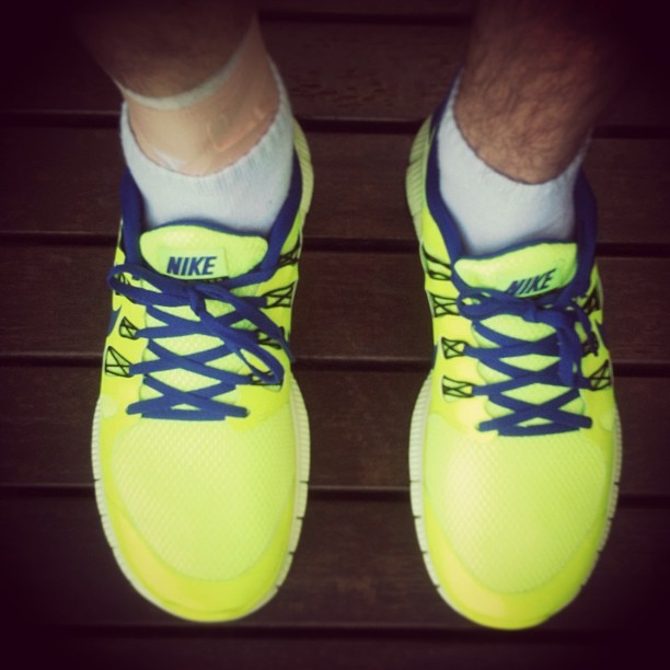 Got myself some new nikes, Gonna give them a test run! #running #nike #fluro #freerun5.0 #fitness #flashy #couldprobablylightadarkroom