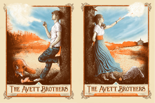 I did two new posters for The Avett Brothers over the weekend. The one on the left was for April 11th, SC , and the one on the right was for April 12th, NC.