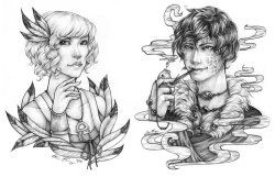 "Character Commissions, September 2010-January 2013. For various clients, private use only, in pencil, pen, and marker on 6""x9"" and 9""x12"" paper."