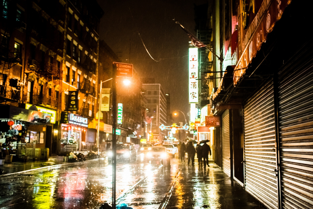 A wet, wet night in Chinatown.