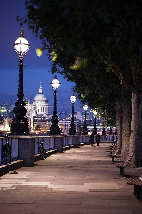 beautiful-world-out-there:  Queens Walk, Thames River, London.
