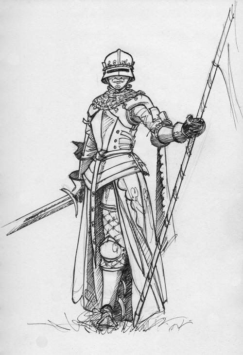 #croquis#dessin#bande dessinée #noir et blanc #armure#médiéval#medieval#épée#bannière#sketch#drawing#comics #black and white #armor#sword#banner #artists on tumblr