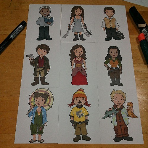 Firefly gang all colored up! Stickers coming soon! #firefly #serenity #cartoons #cute #sketchcards #beckadoodles
