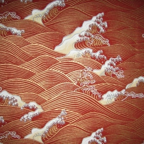 wasbella102:  Japanese Yuzen Chiyogami © mosaicmouse  Bronze Rust Brown Wave Pattern