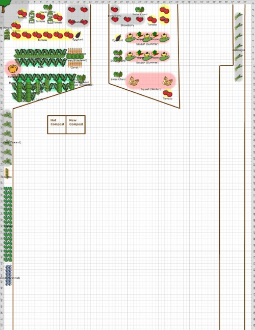 These are the future plans of my garden. There will be basil, tomatoes, swiss chard, strawberries, summer squash, winter squash, peppers, eggplants, carrots, spinach, onions, cilantro, pumpkins, and a boat load of kale!