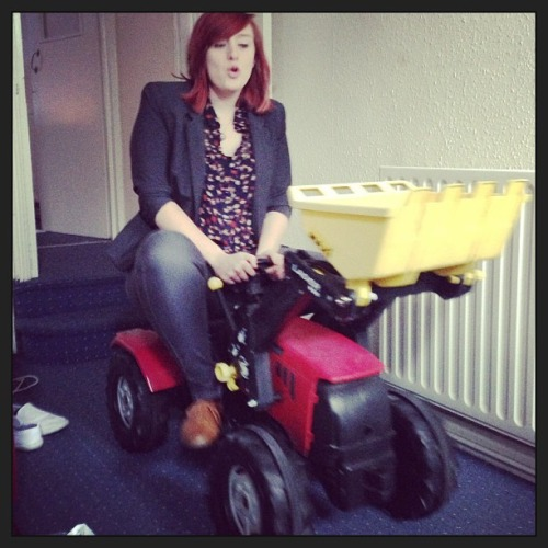 Hello there! My name is Chloe, and this is my method of transportation :) I'm 21, I live in Nottingham working for ford, and I have a pet tortoise. I once fell asleep on a stove, I am the mystery bruise champion, and I have a ping pong table in place of a kitchen table. Ps. yes, I was making tractor noises.