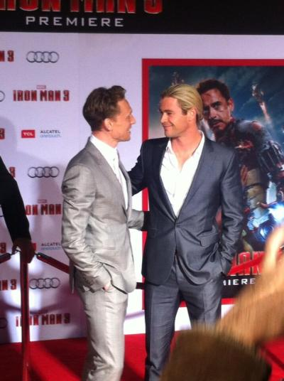 thetomhiddlestoneffect:  You guys are so cute together. Just adopt each other or something, crikey!