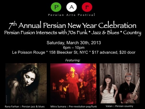 Mitra Sumara for Persian New Year! March 30th. Le Poisson Rouge!