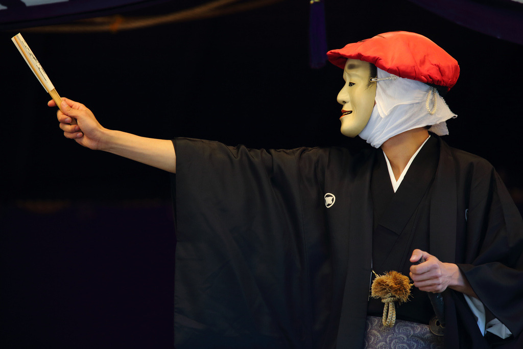 Mask Performance (by Teruhide Tomori) —Saga Dainenbutsu Kyogen—-Located and Performed at Saga Shakado Temple, Arashiyama district, Kyoto. Mar 15, 2013.