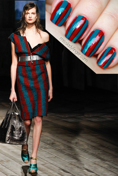 MANICURE MUSE: Prada Fall '13 A Prada stripe is as commanding as a street sign. You slow down when you see one, because it demands attention… Check it out.