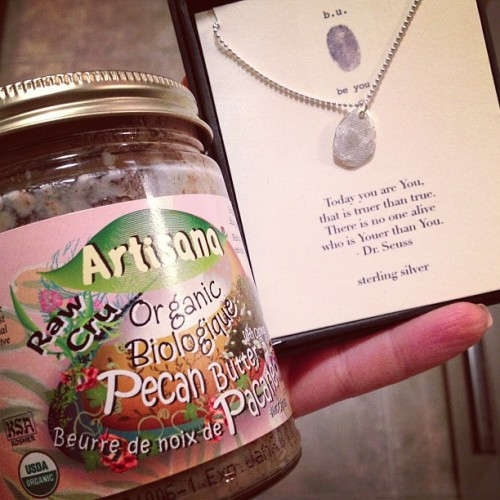 Two of my favourite #birthday gifts so far! Pecan Butter and an a 'be you' necklace. Someone knows me very well! #grateful #thoughtful #gift #kind #friend #loyal #healthyfats #fitness