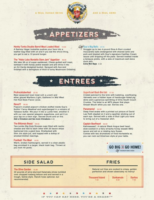 "Hilarious menu options. I read them all and I prefer the Panamania! ""Guy Fieri didn't register his restaurant's domain name, so I picked it up. I think this new menu looks great,"" tweeted Bryan Mytko, identified in his profile as a Brooklyn-based programmer.   (via Guy's American Kitchen & Bar)"