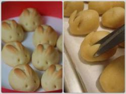 lillianmaxwell:            Bunny Bread: 2-1/2 to 3 cups all-purpose flour2 tablespoons sugar1 package (1/4 ounce) active dry yeast1 teaspoon salt1 cup (8 ounces) sour cream1/4 cup water2 tablespoons butter1 eggPut the butter, the sour cream and water in a small saucepan and heat, but do not cook. Cool to tepid then add the remaining ingredients. Put in a kneader. If thick add more water. Let it rise double and cut into 16 equal parts.Baking tray lined with baking paper and cut the ears with scissors.Then, the eyes can be put, such as pepper grains.Bake at 375° for about 10 minutes or until golden brown.