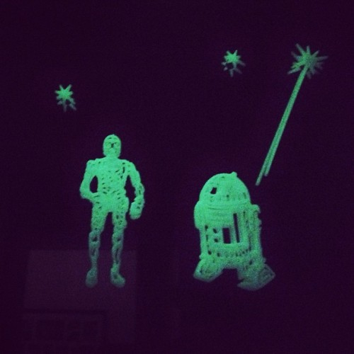 Some kids put glow-in-the-dark stars on their bedroom ceilings. I put R2D2 and C3PO on my bathroom mirror. #nevertakingthemdown #foreverakid #starwars #r2d2 #c3po #glowinthedark