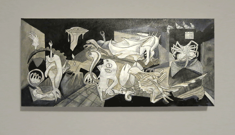 "emlart:  ""Xernica"" Tribute to ""Guernica"" by Pablo Picasso…with Xenomorphs! (Aliens)  Ink/Acrylic on board.  Gauntlet Gallery,San Francisco"